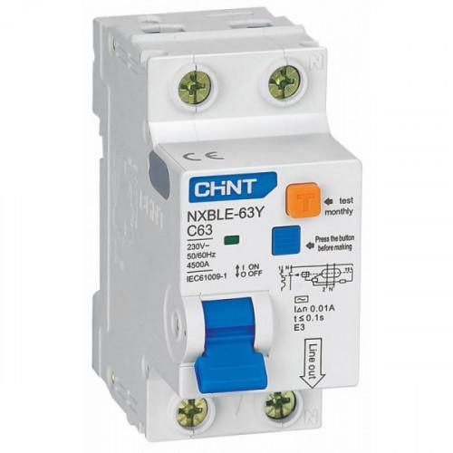 Дифференциальный автомат   NXBLE-63 2P C16 30mA тип AC  6kA (CHINT), арт.819977