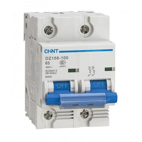 Автоматический выключатель DZ158-125H 2P 63A 10kA х-ка (8-12In) (CHINT), арт.158091