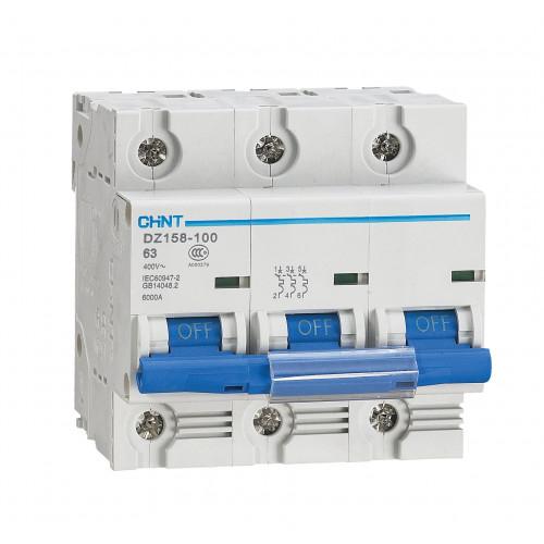 Автоматический выключатель DZ158-125H 3P 125A 10kA х-ка (8-12In) (CHINT), арт.158109