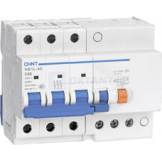 Диф. автомат NB1L-40 3P C25 30mA тип A 6kA (R) (CHINT), арт.198034