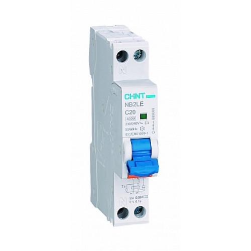 Дифференциальный автомат   NB2LE 1P+N 20A 30mA 1мод., х-ка С, электронный тип AС, 4.5kA (CHINT), арт.689003