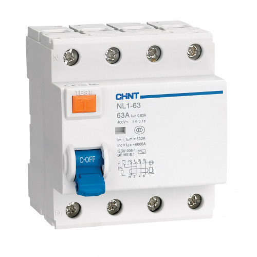 УЗО NL1-63 6kA 4P 63A 30mA тип AC (DB) (CHINT), арт.200225