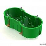 Коробка установочная 2-местная 141х70х45мм для скрытого монтажа в полых стенах (с саморезами, с металлическими зажимами) зеленая (CHINT), арт.8810010