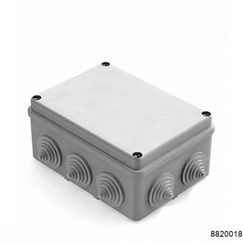 Коробка распаячная для наружного монтажа, 10 гермовводов, 150х110х70мм,  IP55 серая (CHINT), арт.8820018