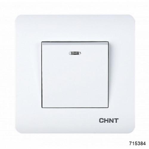 1-клавишный проходной выключатель с LED-подсветкой 10А 250В (CHINT), арт.715384
