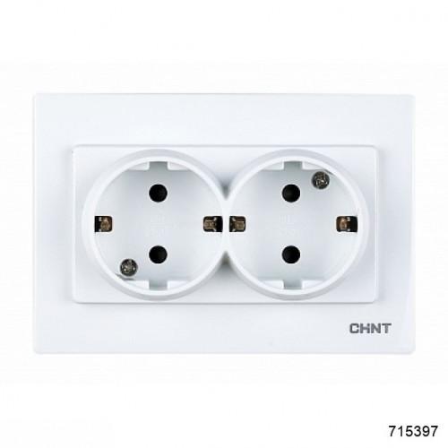 2-местная розетка без заземляющего контакта 16А 250В (CHINT), арт.715397