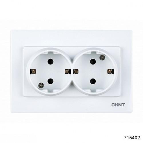 2-местная розетка с заземляющим контактом 16А 250В (CHINT), арт.715402