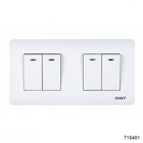 4-клавишный проходной выключатель с LED-подсветкой 10А 250В (CHINT), арт.715401