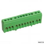 Шина PE земля в корп изол на DIN-рейку ШНИ-6х9-10-К-Зеленый, арт.9900720