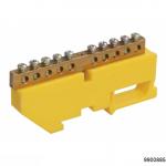 Шина N ноль на DIN-изол ШНИ-6х9-8-Д-желтый, арт.9900885