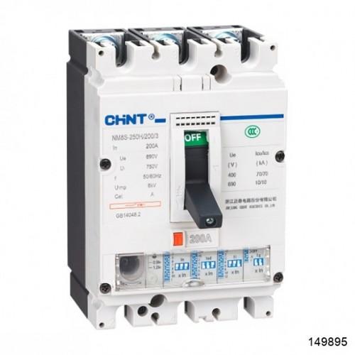 Автоматический выключатель NM8S-250H 3Р 250А 70кА с электронным расцепителем (CHINT), арт.149895