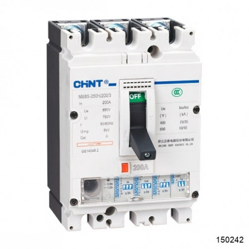 Автоматический выключатель NM8S-250H 3Р 40А 70кА с электронным расцепителем (CHINT), арт.150242