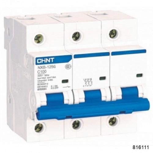 Автоматический выключатель NXB-125G 3P 100A 10кА х-ка D (CHINT), арт.816111