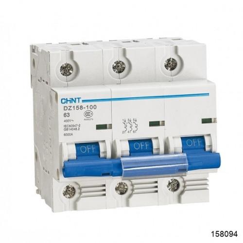 Автоматический выключатель DZ158-125H 3P 63A 10kA х-ка (8-12In) (CHINT), арт.158094