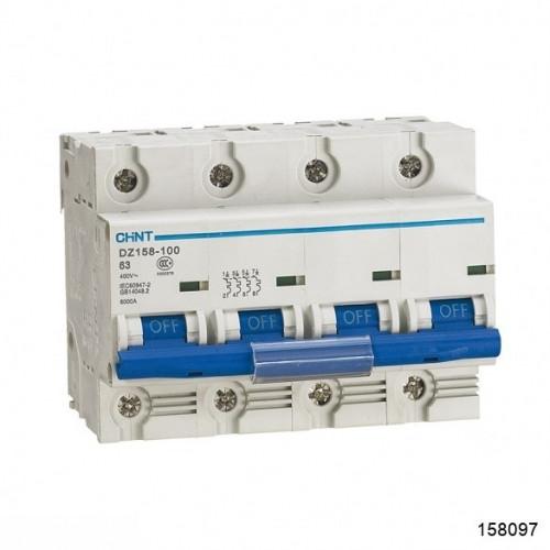 Автоматический выключатель DZ158 4Р 63А 10кА х-ка (8-12In) (CHINT), арт.158097