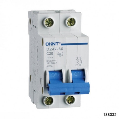 Автоматический выключатель DZ47-60 2P 40A 4.5kA х-ка C (CHINT), арт.188032