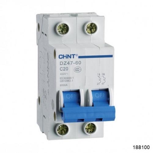 Автоматический выключатель DZ47-60 2Р 3А 4.5кА х-ка B (CHINT), арт.188100
