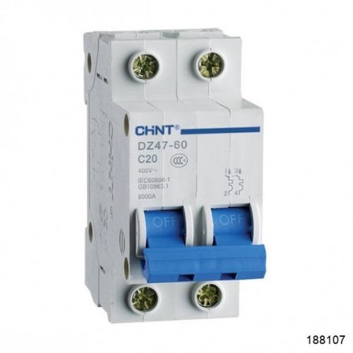 Автоматический выключатель DZ47-60 2P 20A 4.5kA х-ка B (CHINT), арт.188107