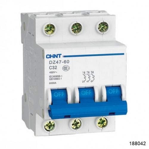Автоматический выключатель DZ47-60 3P 4A 4.5kA х-ка C (CHINT), арт.188042