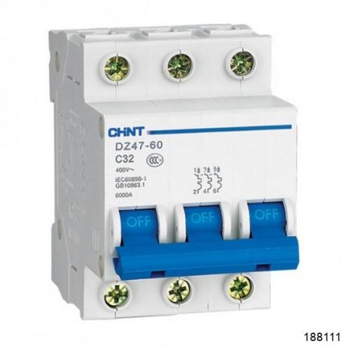 Автоматический выключатель DZ47-60 3P 1A 4.5kA х-ка B (CHINT), арт.188111