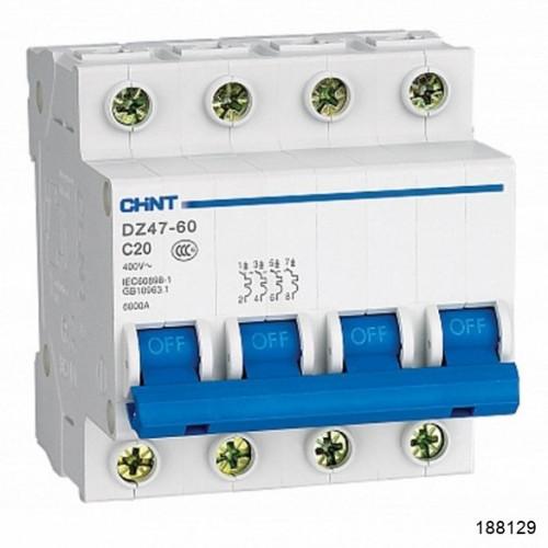 Автоматический выключатель DZ47-60 4Р 6А 4.5кА х-ка B (CHINT), арт.188129