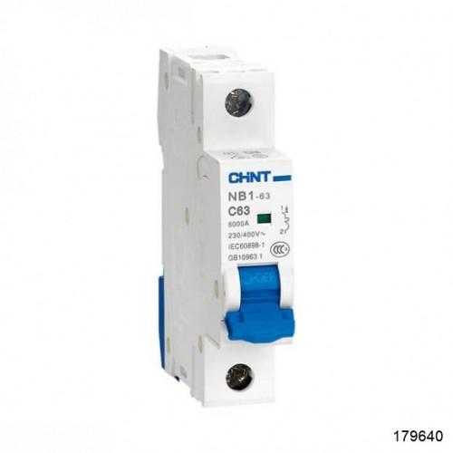 Автоматический выключатель NB1-63 1Р 63А 6кА х-ка D (CHINT), арт.179640