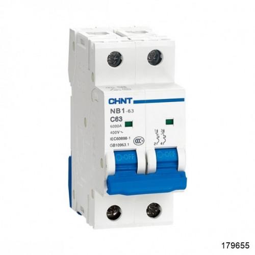 Автоматический выключатель NB1-63 2P 1A 6кА х-ка C (CHINT), арт.179655