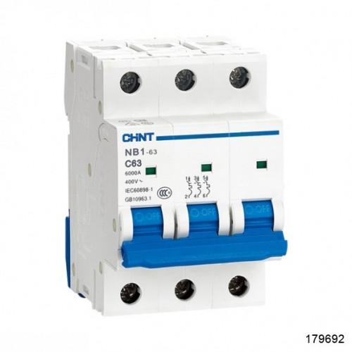 Автоматический выключатель NB1-63 3P 4A 6кА х-ка B (CHINT), арт.179692