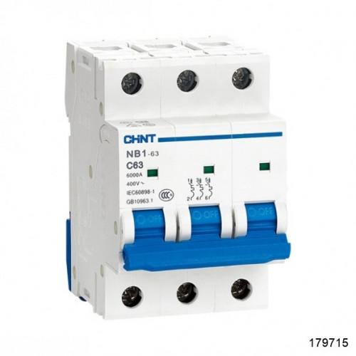 Автоматический выключатель NB1-63 3P 2A 6кА х-ка D (CHINT), арт.179715