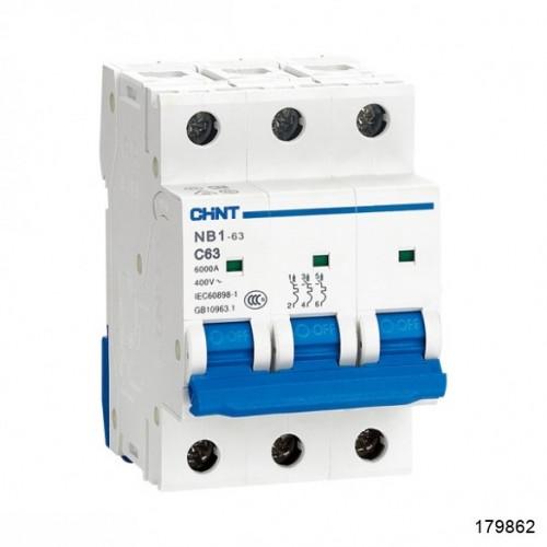 Автоматический выключатель NB1-63H 3Р 50А 10кА х-ка B (R) (CHINT), арт.179862
