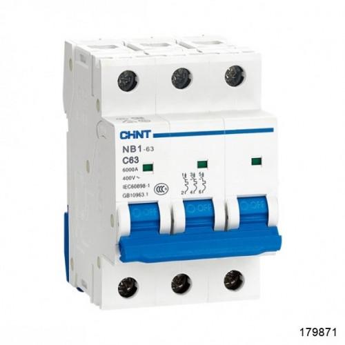 Автоматический выключатель NB1-63H 3P 25A 10кА х-ка C (CHINT), арт.179871