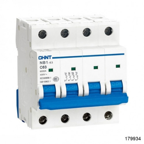 Автоматический выключатель NB1-63H 4Р 63А 10кА х-ка D (R) (CHINT), арт.179934