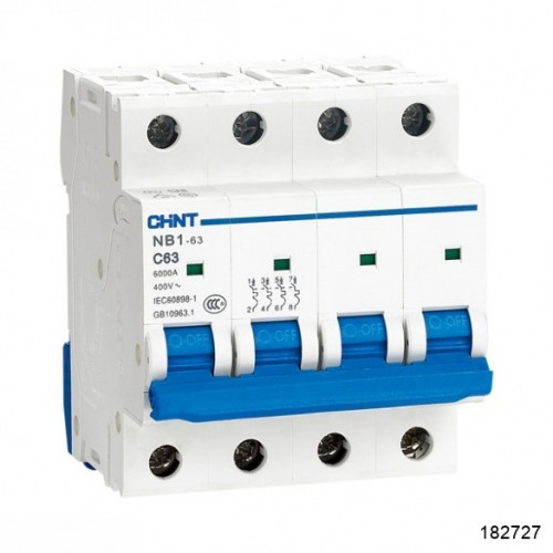 Автоматический выключатель пос.тока NB1-63DC 4P 1А 500В 6кА х-ка C (CHINT), арт.182727