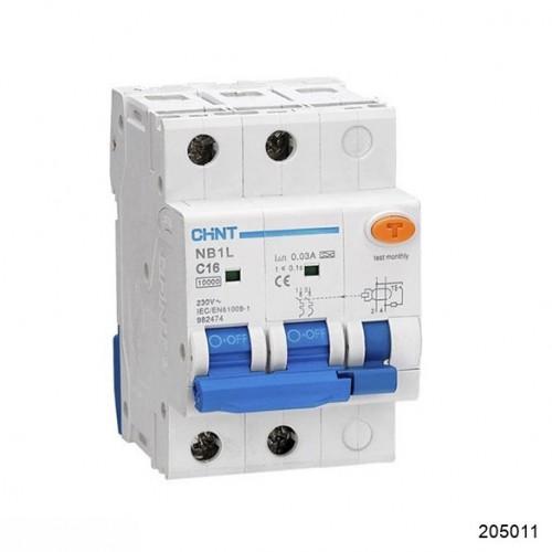 Диф. автомат NB1L 2P С16 30мА тип А 10кА (54mm) (CHINT), арт.205011