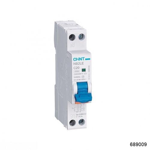 Дифференциальный автомат   NB2LE 1P+N 25A 30mA 1мод., х-ка С, электронный тип A, 4.5kA (CHINT), арт.689009
