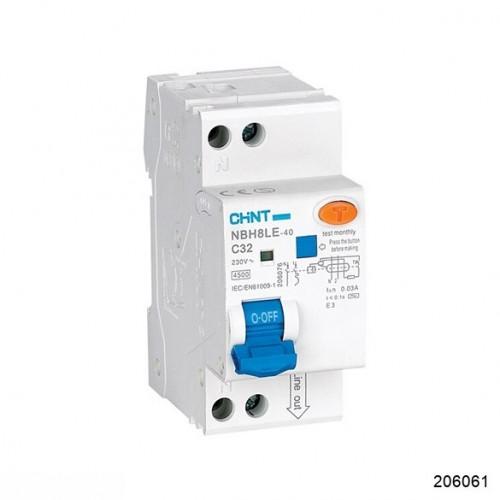 Дифференциальный автомат NBH8LE-40 1P+N 10A 30mA х-ка С 4.5kA (R) (CHINT), арт.206061