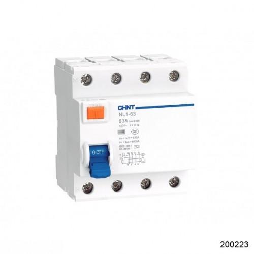 УЗО NL1-63 6kA 4P 25A 30mA тип AC (DB) (CHINT), арт.200223