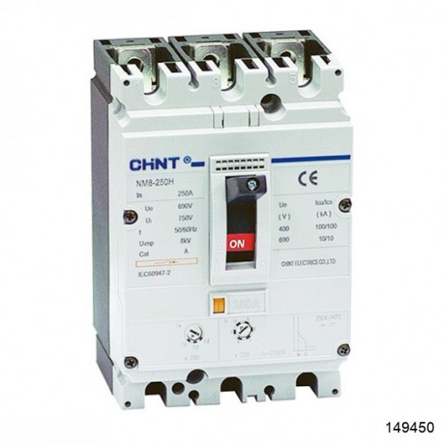 Автоматический выключатель NM8-250H 3Р 125А 100кА (CHINT), арт.149450