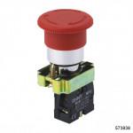Кнопка управления Грибок, 40мм с самовозвратом NP2-BC52 без подсветки желтая 1НЗ IP40 (CHINT), арт.573838