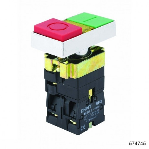Двойная кнопка NP2-EW8465 1НО+1НЗ AC/DC 220/230В(LED) IP40 (CHINT), арт.574745