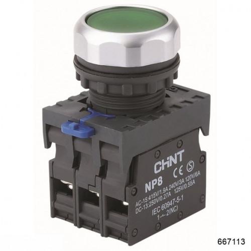 Кнопка управления NP8-11BN/3 без подсветки, зелёная 1НО+1НЗ IP65 (CHINT), арт.577776