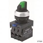 Переключатель с подсветкой NP8-11XD/313, 3 положения с фиксацией, 1НО+1НЗ зелёная AC110В-230В(LED) IP65 (CHINT), арт.577829