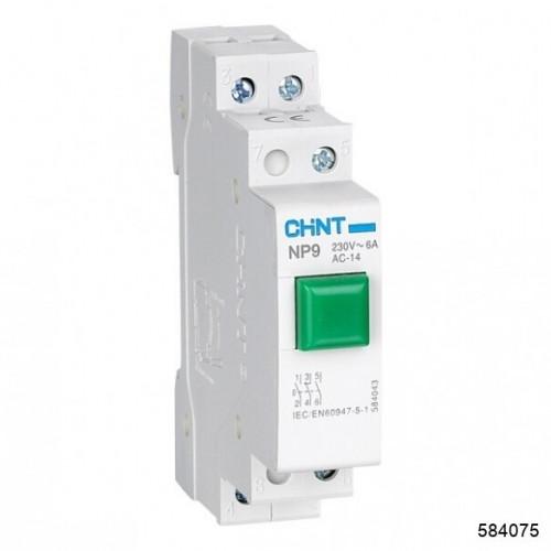 Кнопка модульная NP9-12D3/1 с подсветкой, 1НО+2НЗ, AC/DC230В, зеленая(CHINT), арт.584075
