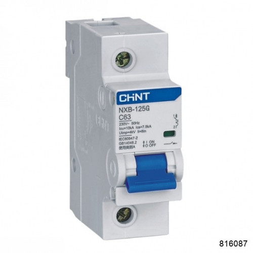 Автоматический выключатель NXB-125G 1P 100A 10кА х-ка D (CHINT), арт.816087