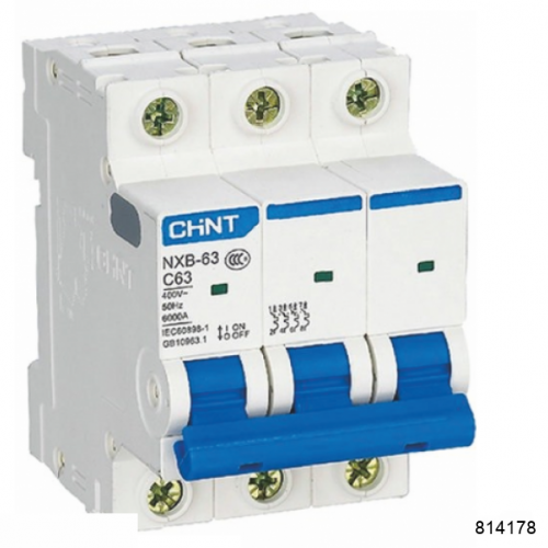 Автоматический выключатель NXB-63 3P 2А 6кА х-ка D (CHINT), арт.814178